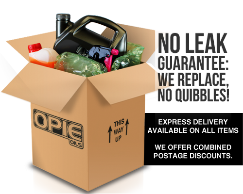 Opie Oils no leak guarantee, we replace any damaged parcel quibble free