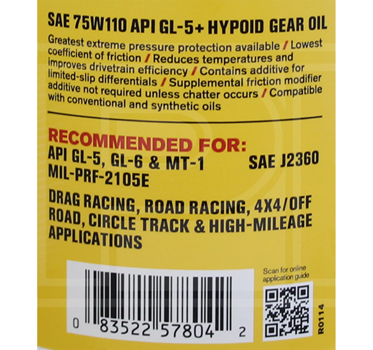 RED LINE Synthetic Gear Oil 75W-110 GL5