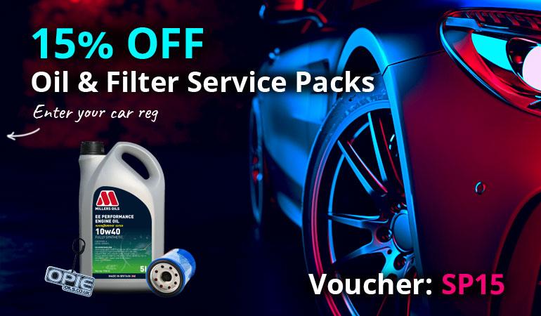 15% Off Oil & Filter Service Packs